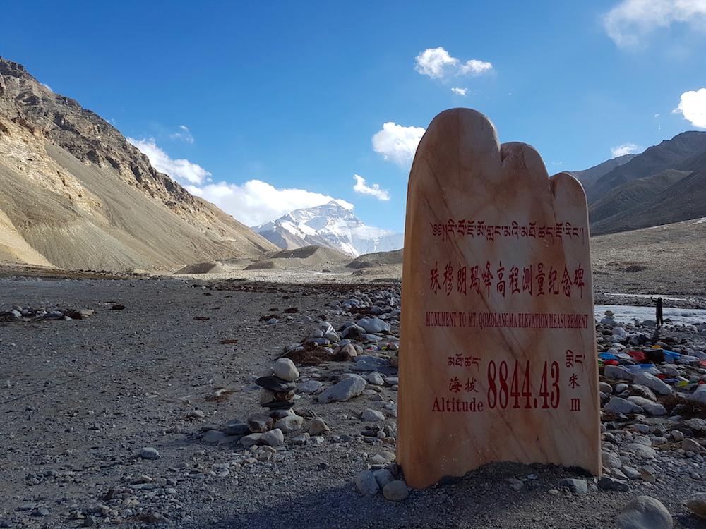 Mount Everest - chinesische Info-Tafel