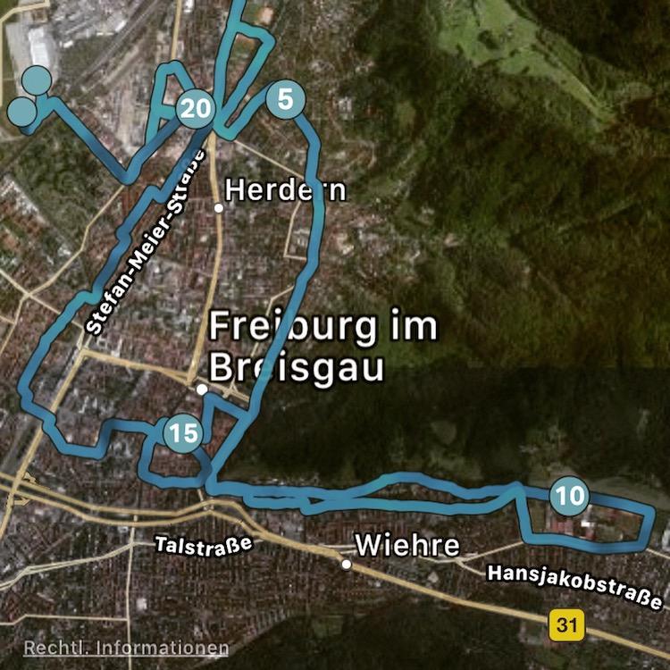 Freiburg Marathon Strecke