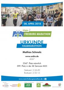 Urkunde Freiburg Marathon